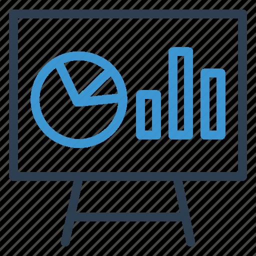 analytics, blackboard, chart, diagram, pie, presentation, statistics icon