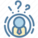 businessman, man, mind, question, solution, task, think icon