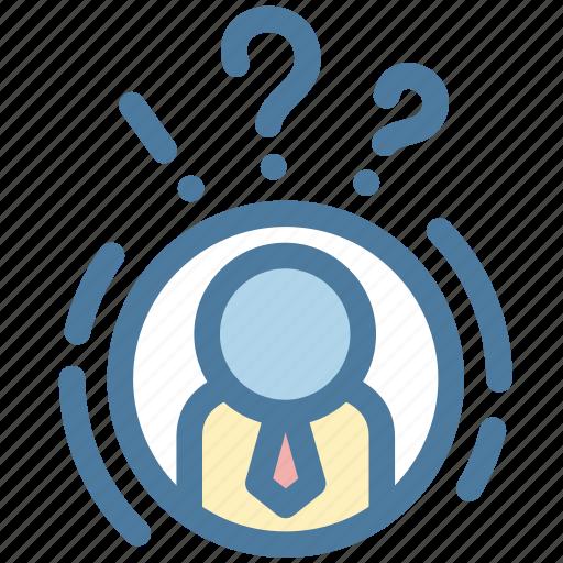 businessman, man, mind, question, solution, task, think icon