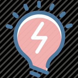 attention, bulb, idea, light, mark, office, warning icon