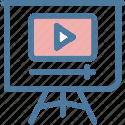 blackboard, office, play, presentation, promotion, slideshow, video icon