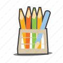 crayons, design, pencil icon