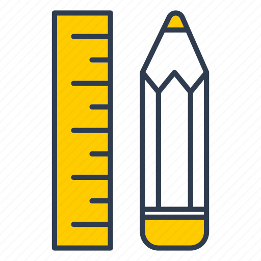edit, office, pencil, ruller, work icon