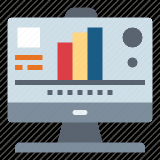 analytics, computer, monitor, tv icon