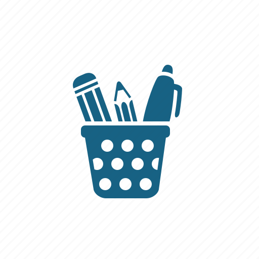 office supplies, pen, pencil, stationery icon