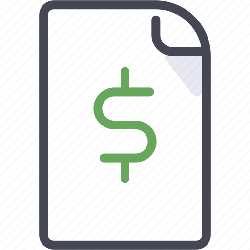 document, dollar, money, office, profit icon