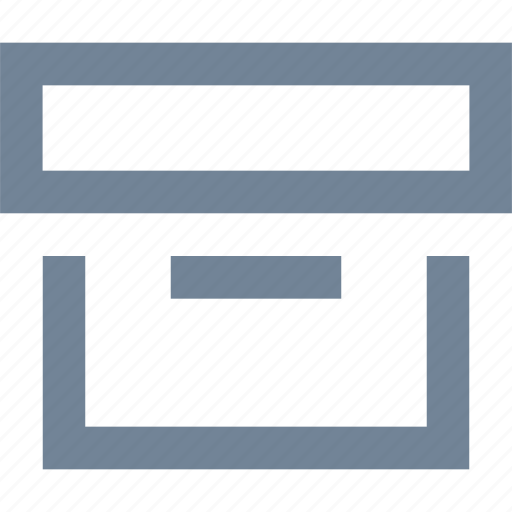 box, documents, line, storage icon