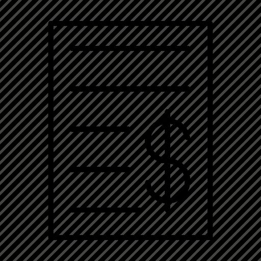 bill, dollar, invoice, purchase, receipt icon