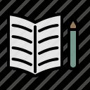 textbook, diary, notepad, pencil, paper