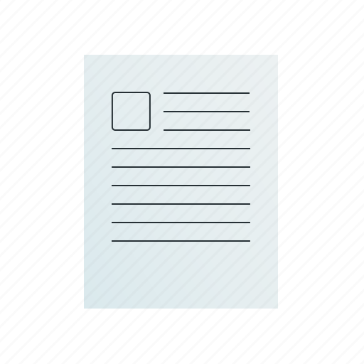 document, picture, text, with icon