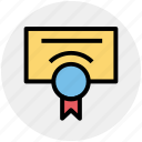 award, award badge, award ribbon, certificate, paper, report icon