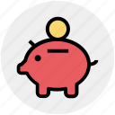 bank, money, piggy, piggy bank, saving icon