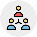 business, hierarchy, men, social, team, users icon