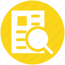 analysis, file, magnifier, page, search, search page icon