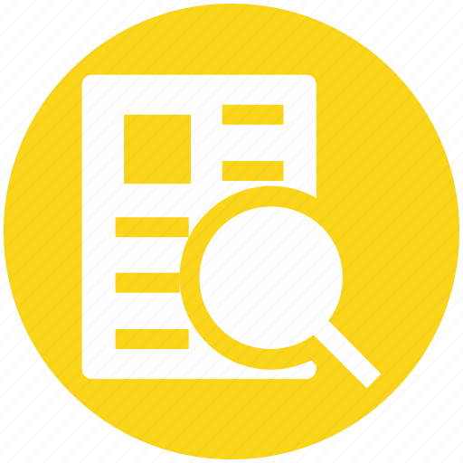 Analysis, file, magnifier, page, search, search page icon - Download on Iconfinder