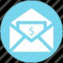 dollar, envelope, letter, mail, message, payment