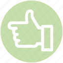 hand, left, like, thumb, thumbs up icon
