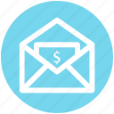 dollar, envelope, letter, mail, message, payment icon