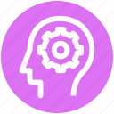 brainstorming, cog, gear, head, logic, strategy icon