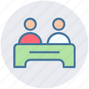 boy on the desk, interview, interview on the desk, job interview, receptionist icon