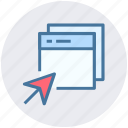 arrow, click, computer pages, pages, web, web pages icon