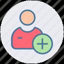 add, businessman, man, plus, plus sign, user icon