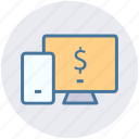 display, dollar, lcd, mobile, mobile and lcd, online payment icon