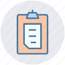 clipboard, document, file, notepad, paper icon