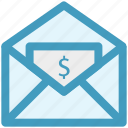 dollar, envelope, mail, message, payment icon