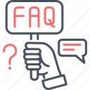 answer, faq, hand, help, question icon