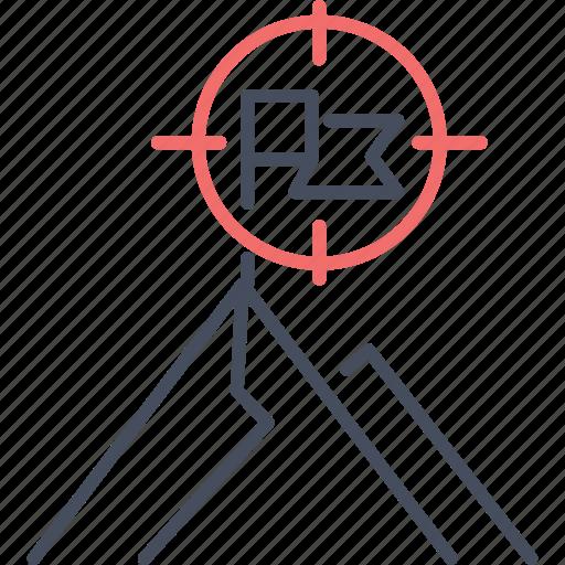 flag, goal, mission, mountain, target, vision icon