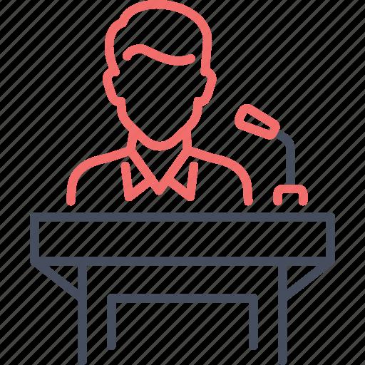 meeting, presenation, speach, speaker icon