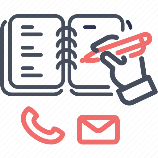 contact, note, notebook, pen, write icon