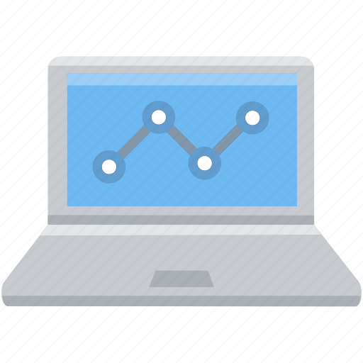 analysis, analytics, chart, diagram, laptop, pie, statistics icon