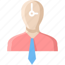 account, businessman, deadline, man, people, punctual, puntuality icon