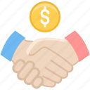 agreement, deal, dollar, finance, handshake, partnership, shakehand icon
