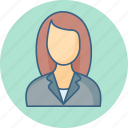 avatar, employee, female, lady, person, profile icon