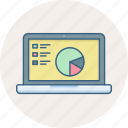 analytics, chart, diagram, laptop, presentation, report, statistics icon