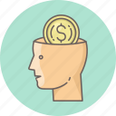 business, dollar, mind, minded, money icon