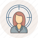 employee, female, target icon
