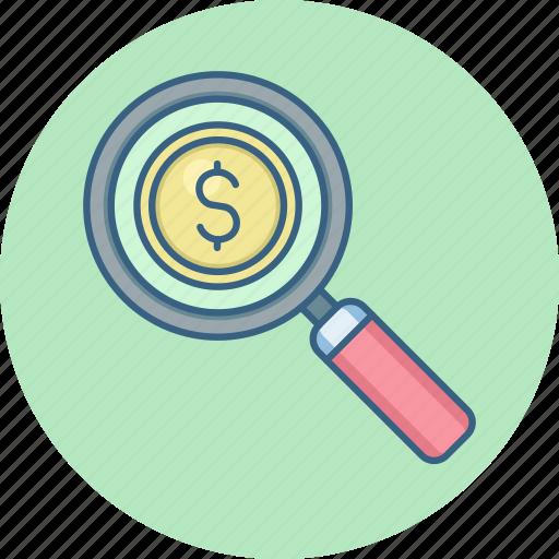 dollar, find, money, search icon