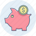 bank, banking, cash, funds, guardar, piggy, save, savings icon