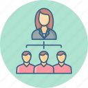 female, group, hierarchy, leader, organization, team icon