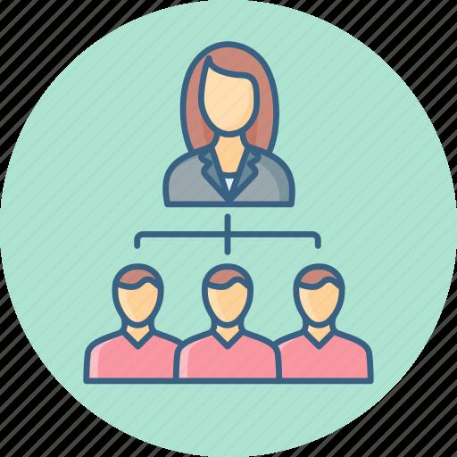 female, group, hierarchy, leader, organization, team icon