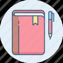 note, pen, book, folder