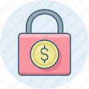 bank, business, dollar, finance, lock, money icon