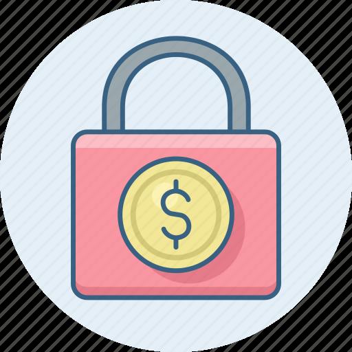 bank, business, dollar, finance, lock, money icon