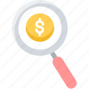 dollar, earch, find, magnifier, money, paid search, view icon