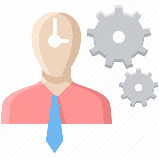 employee, man, plan, punctual, punctuality, think, time icon