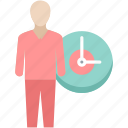 clock, employee, man, person, punctual, schedule, time icon